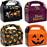 48 Halloween Treat Boxes Cardboard Haunted House Gable Boxes for School Classroom Party Favor Supplies Spider Web…