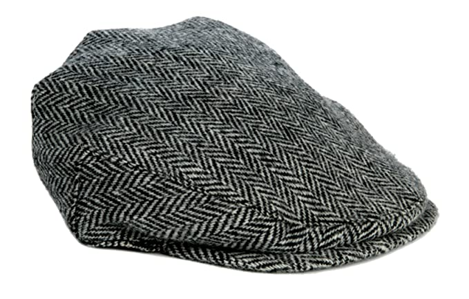 Harris Tweed Country Flat Cap One Size Regular Adjustable (Black) at Amazon  Men s Clothing store  4f2b4f05abe9