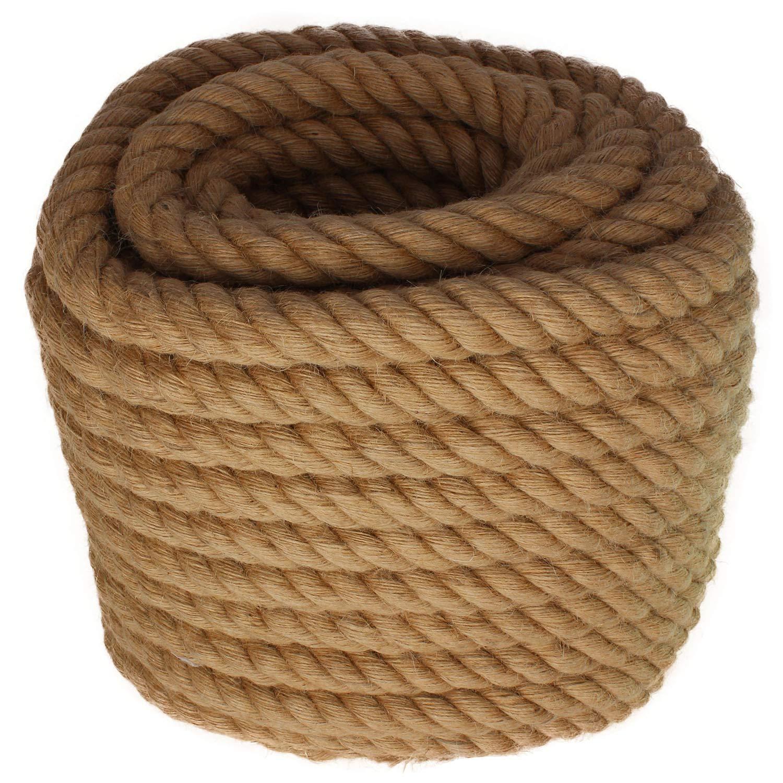 Twisted Manila Rope Jute Rope 100 Feet Natural Jute Twine Hemp Rope 1.25 Inch Diameter Twine Burlap Rope 1-1//4
