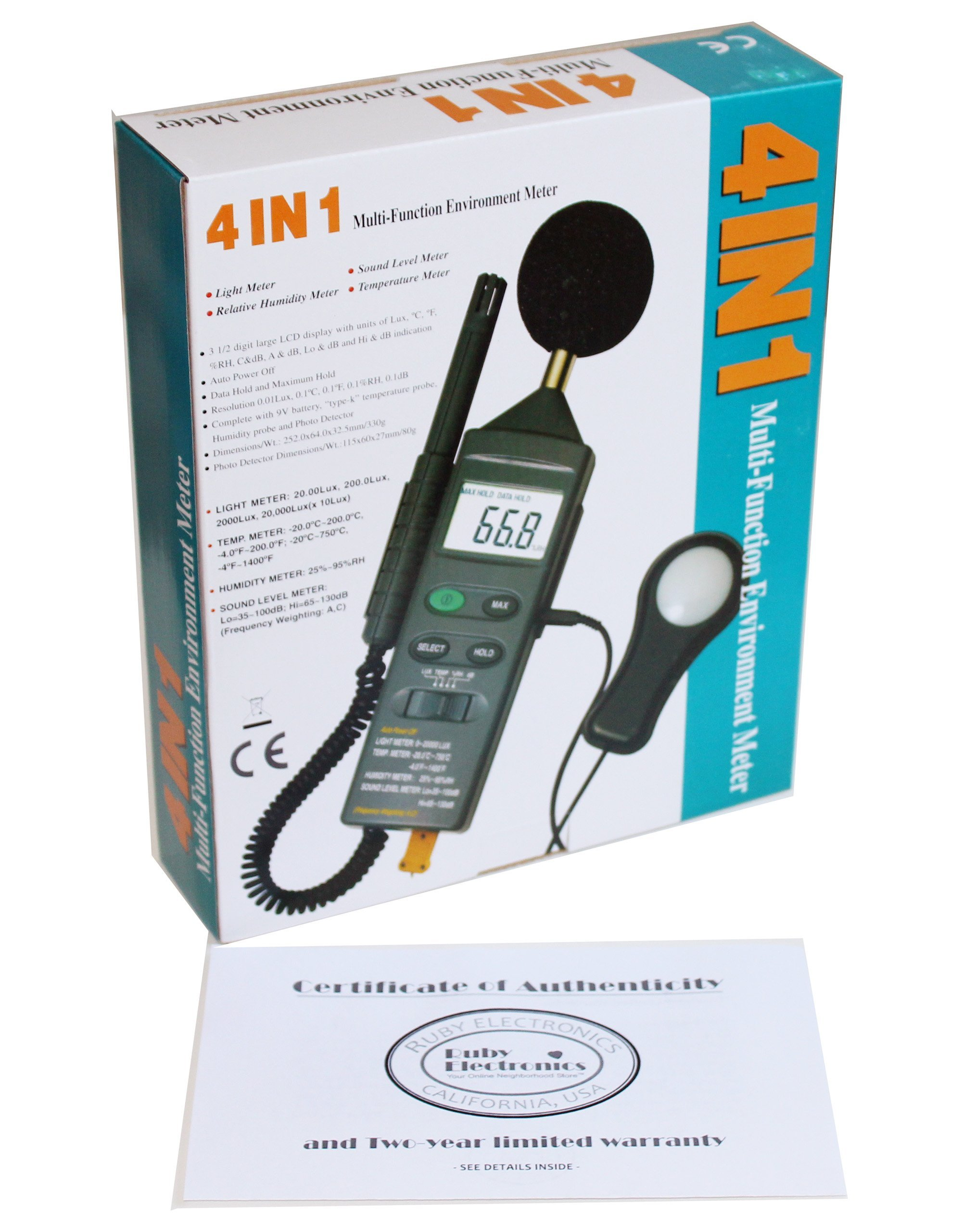 Ruby Electronics DT-8820 4-in-1 Industrial Thermometer Light Humidity Sound Meter by Ruby Electronics