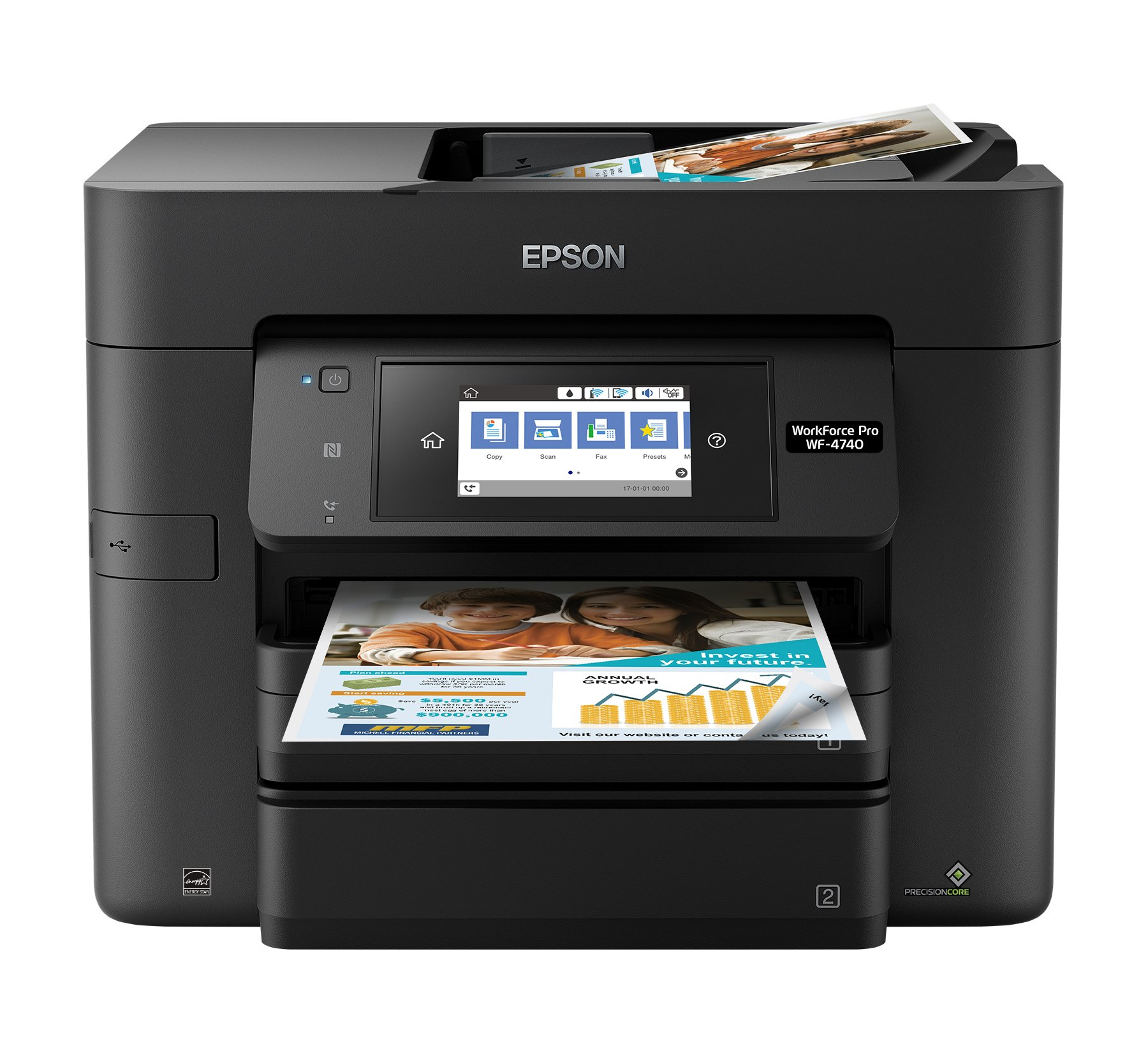 Epson WorkForce Pro WF-4740 Wireless All-in-One Color Inkjet Printer, Copier, Scanner with Wi-Fi Direct