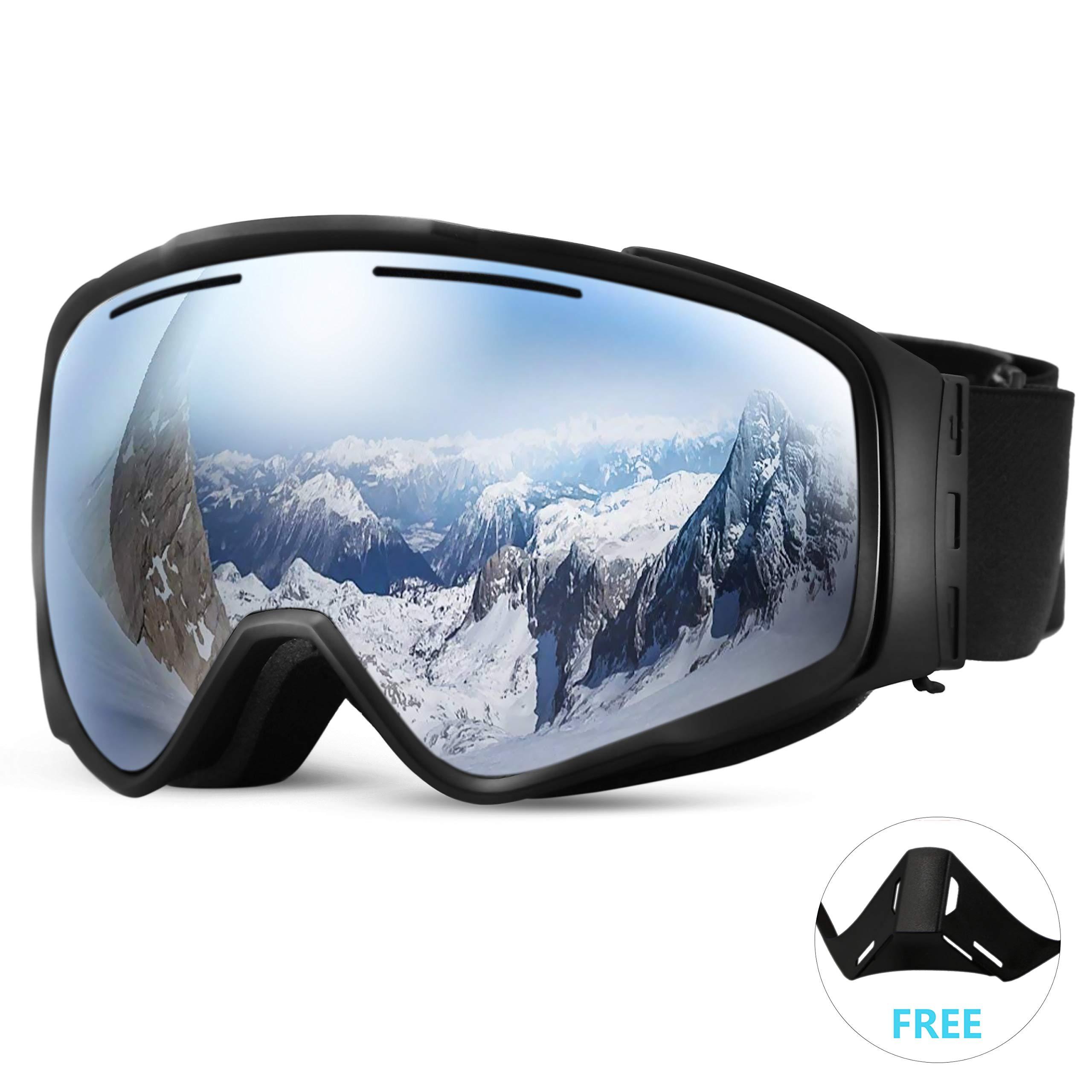 Gafas de Esquí Lente 100% UV 400 Anti Protección antiniebla Magnéticos Intercambiables Doble Capa OTG