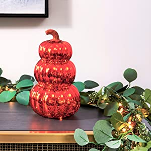 Fall Pumpkin Decoration with Lights - 9 Inch Tall, Orange Mercury Glass with Gold Glitter Stem, Warm White LED Fairy Lights, Thanksgiving Table Decorations, Batteries Included