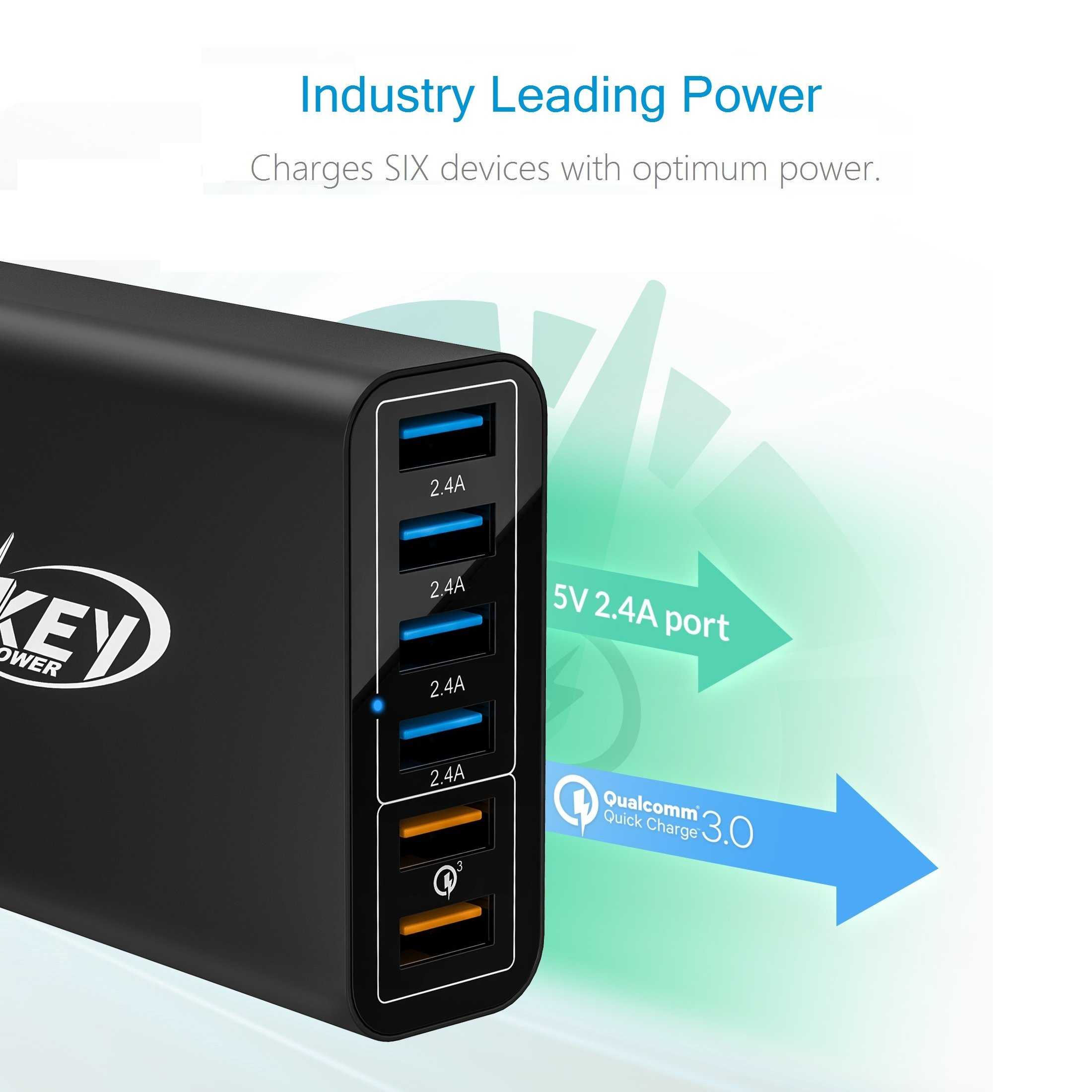 Key Power Quick Charge 3.0 Wall Charger, 60W 6-Port USB Fast Charger Desktop Charging Station for iPhone/PRO MAX/XS Max/XR/X/8/7/Plus, iPad Pro/Air 2/Mini, Galaxy S10/S9/S8/S7/Plus, HTC and More