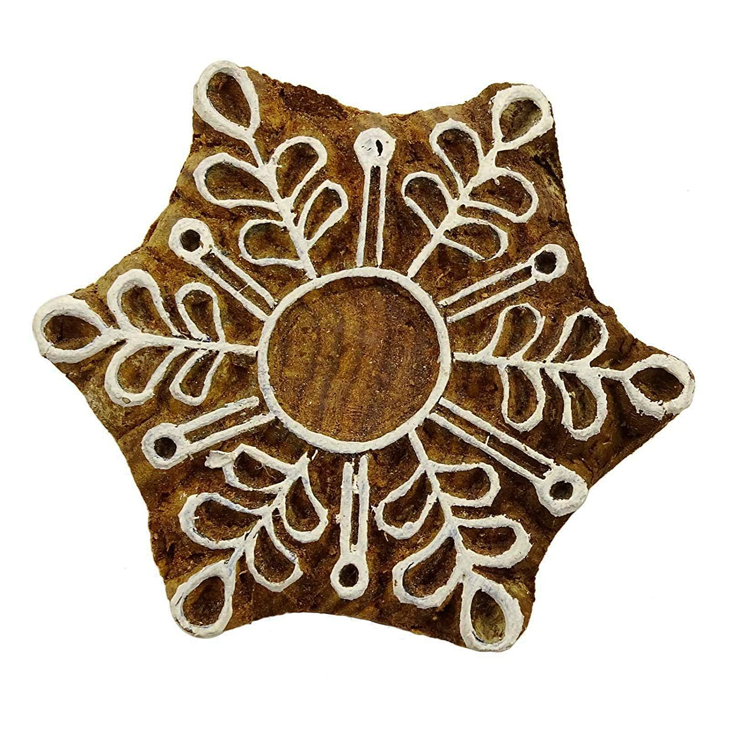 Knitwit Star Stamp Brown Wooden Textile Indian Hand Carved Stamp Printing Block Art