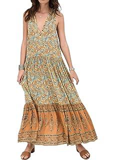 8b051ba0 R.Vivimos Women's Summer Sleeveless Floral Print Button Up Bohemian Flowy Maxi  Dresses