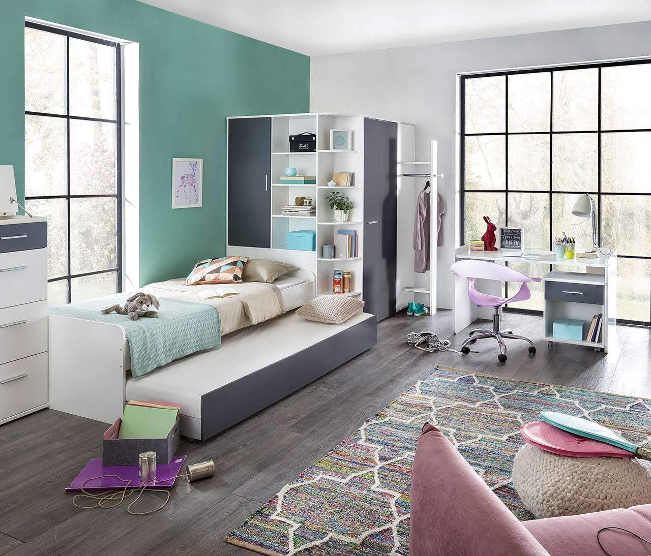 lifestyle4living Jugendzimmer in strahlendem Weißszlig; mit Absetzungen in Graphit, 5-teiliges Komplettset mit begehbarem Eckkleiderschrank, Kinderzimmer
