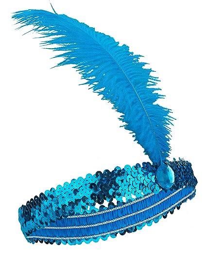 bd678f03 Diadema de Charlestón pluma y lentejuelas azules mujer: Amazon.es ...