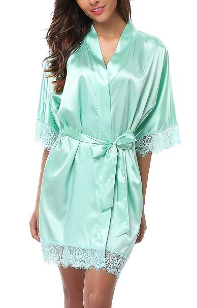 4cf80e3fbd WitBuy Women s Short Bathrobe Silk Kimono Robe Bridesmaid Robe with Lace  Trim for Wedding Party Aquamarine