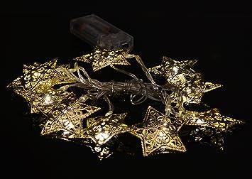 Hochwertige Led Lichterkette 1 8 M Warmweiss Mit 10 Metall Sternen