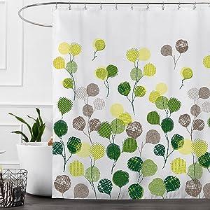 Ashler Waterproof Bathroom Shower Curtain Sets with Plastic Hooks 70x 72 Inches White Dandelion