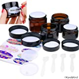 Kare & Kind Refillable Cosmetics Jars Kit - 4x Cosmetics Jars (Amber Glass), 4x Lids, 4x Inner Covers, 39x Labels + 4x Mini Spatula for Easy Filling - For Creams, Essential Oils, Powders, etc.