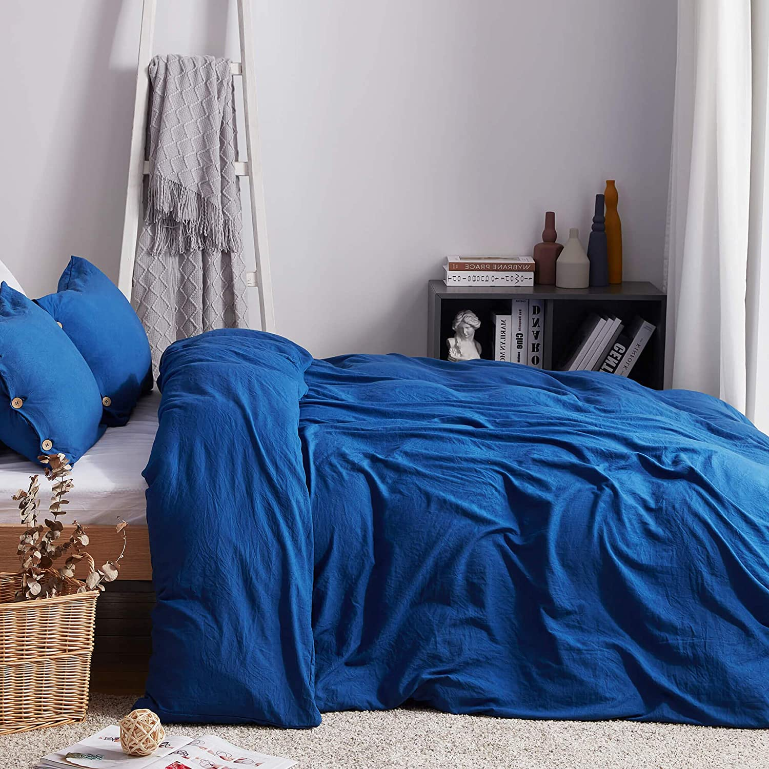 3 Pieces Solid Color Blue Bedding Set,100/% Washed Microfiber,Breathable/& Ultra Soft with Zipper/&Corner Ties 68/×90 Blue, Twin Uhsupris Twin Duvet Covers Size