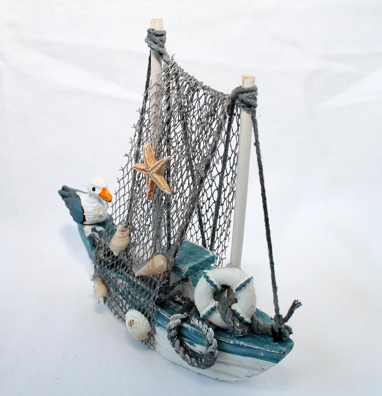 16cm Deko Boot Kutter Schiff mit Moewe