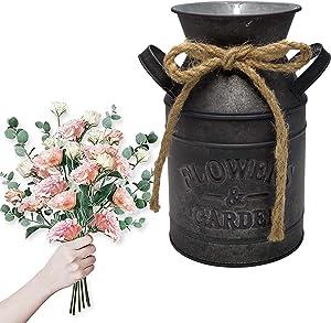 Jeeleno Farmhouse Rustic Decor Vase,Country Vintage Home Decoration,Farmhouse Chic Jug Vase,Spring Sunflower Milk Coffee Jug Galvanized Bucket Used for Porch,Kitchen, Home,Table Decor(Retro Color)