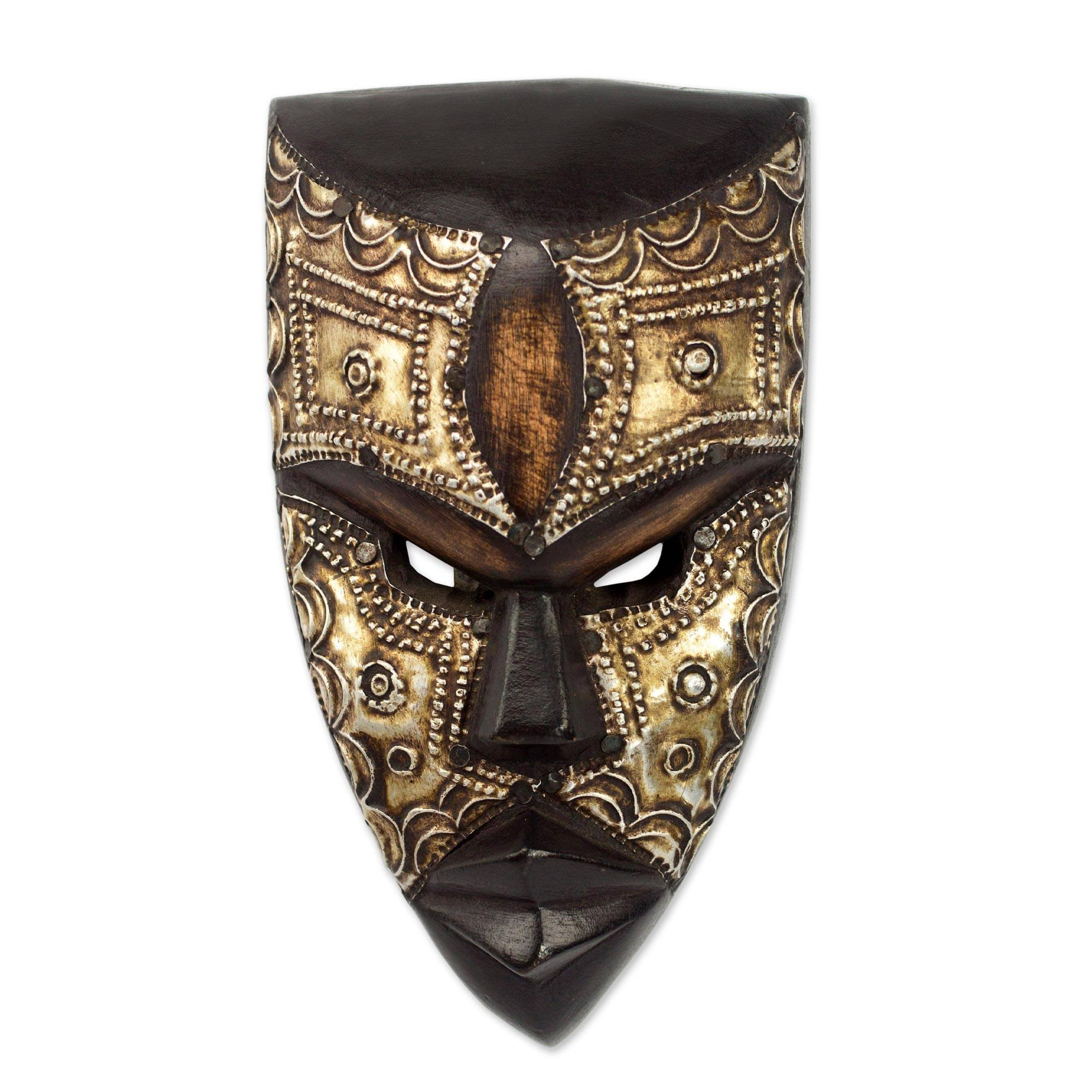 NOVICA Hand Carved Brown Wood Ghanaian Wall Mask with Aluminum Accents, Mbara Hunter'