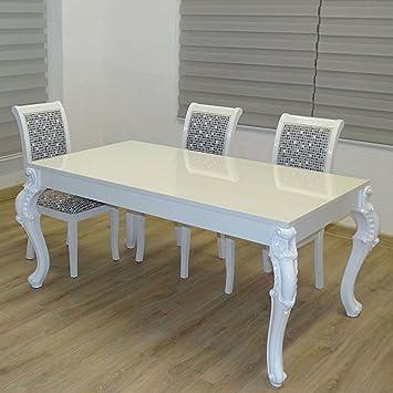 Euro Tische Esstisch Größe 160 X 90 Cm, Weiß Hochglanz Mit Kratzfestem Lack  In Modern