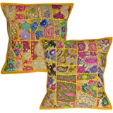 Indian Traditional Cotton Khadi Home Decorative Cushion Cover 40 X