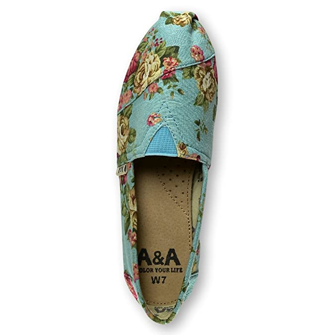 Amazon.com | A&A Vegan Womens Floral Black Slip-on Casual Flats Canvas Shoes Alpargatas (Romantic) | Flats