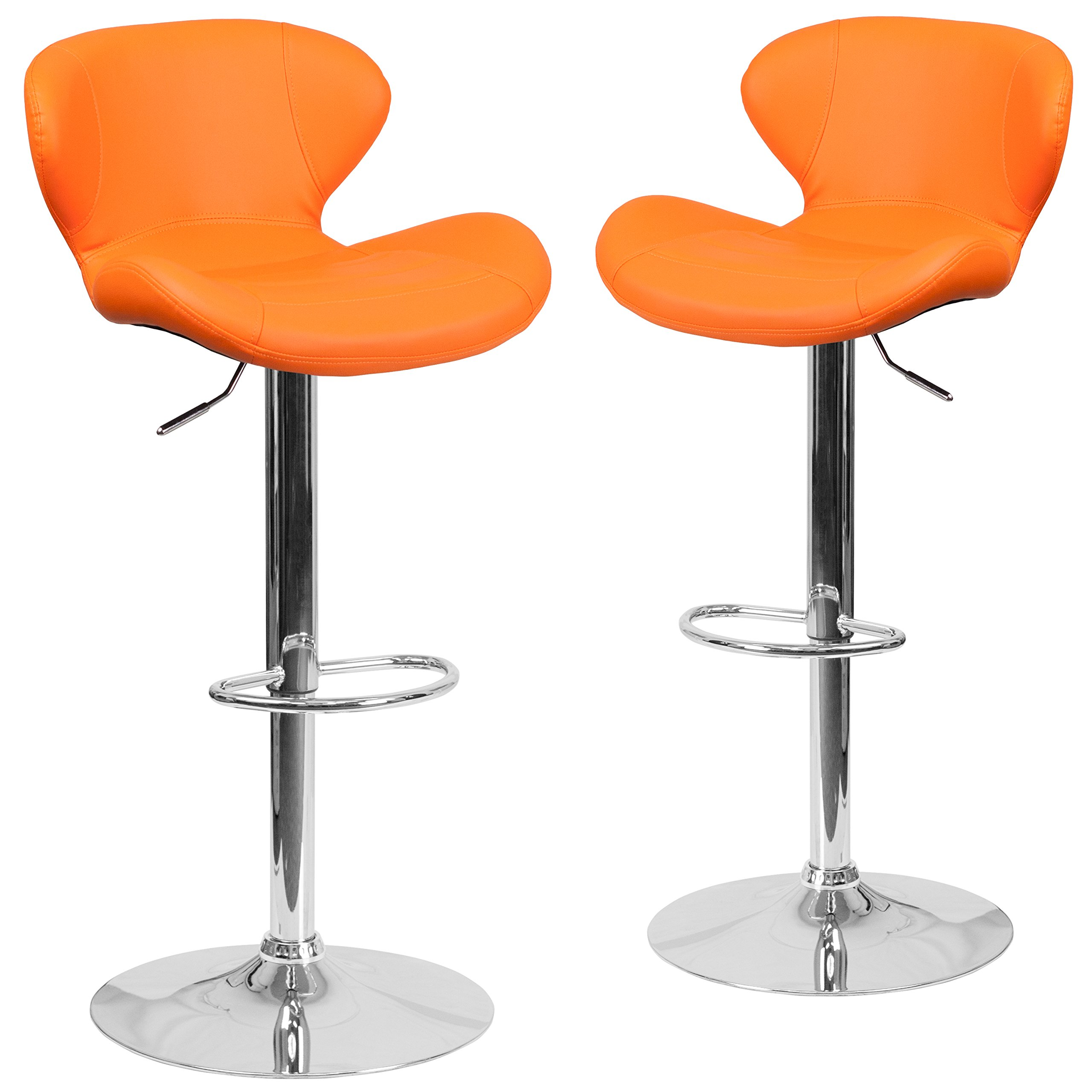 Flash Furniture 2 Pk. Contemporary Orange Vinyl Adjustable Height Barstool with Curved Back and Chrome Base by Flash Furniture