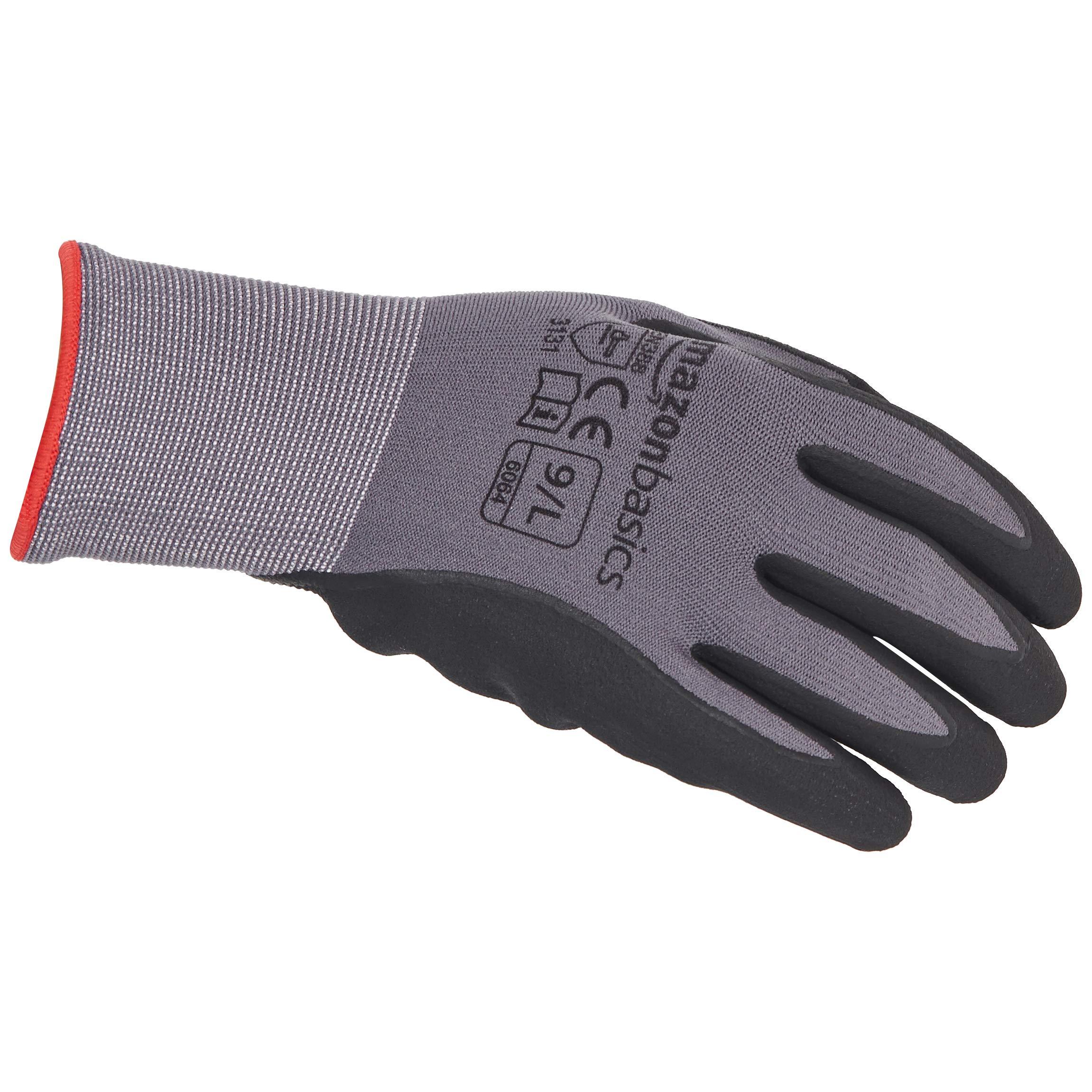 AmazonBasics Micro-Foam Nitrile Coated Work Gloves, Nylon Liner Fiber, Touch Screen, Grey, Size 9, L, 12-Pair by AmazonBasics (Image #3)