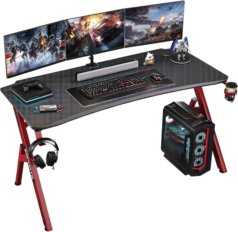 Foxemart Gaming Desk 47 inch PC Computer Desk, Home Office Desk Workstation, Professional Gaming Desk Table with Cup Holder & Headphone Hook
