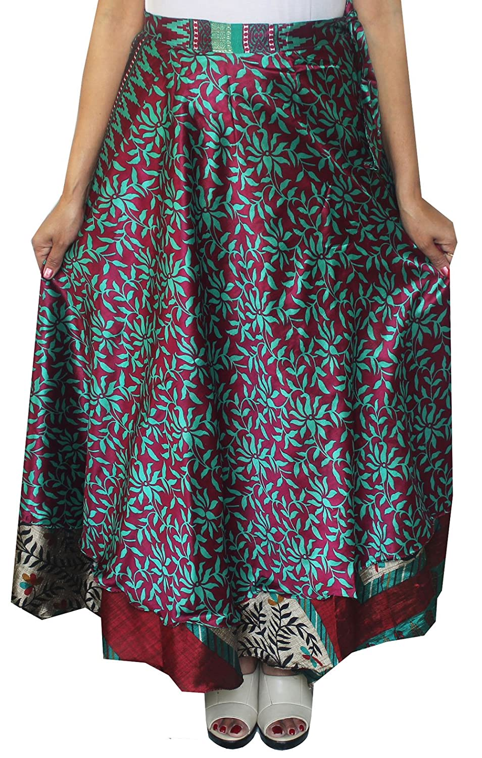 MapleClothing Magia Wrap Indian Sari 5 pc allingrosso Lotto Delle Donne Vicino a Long Skirt