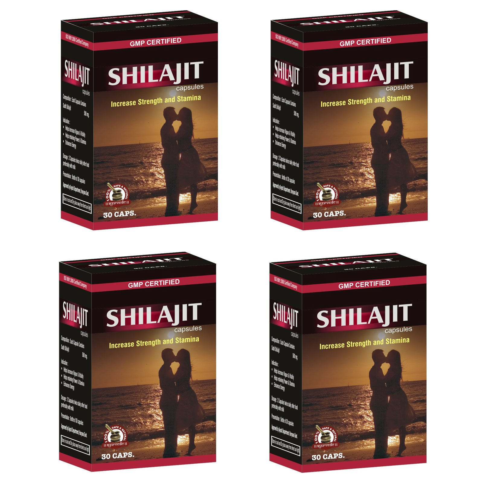 Ayurved Research Foundation Shilajit Capsule Herbal Supplement To Increase Energy And Stamina 4 Packs of 30 Capsules