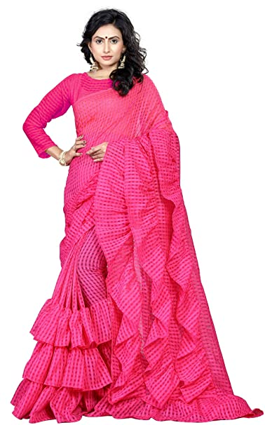 c871aee1ce6240 AnK Bubble Saree With Blouse Piece (Pink)  Amazon.in  Clothing   Accessories