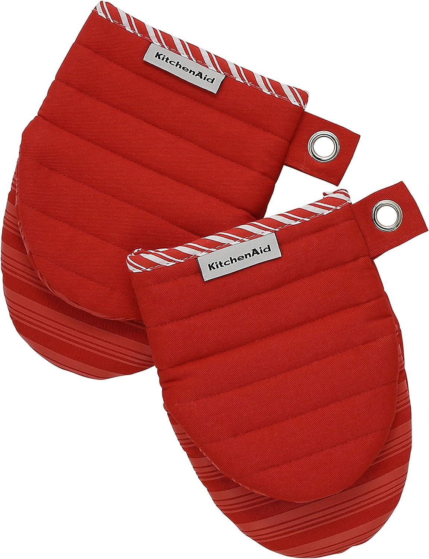 KitchenAid 100/% Cotton Heavy-duty Oven Glove 3-Piece Set with Non-slip Silicone Grip in Red