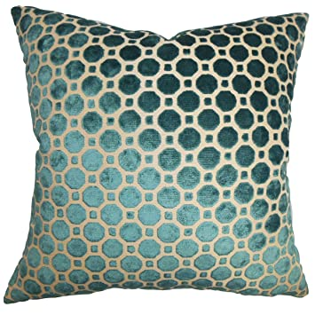 the pillow collection kostya geometric pillow turquoise - The Pillow Collection