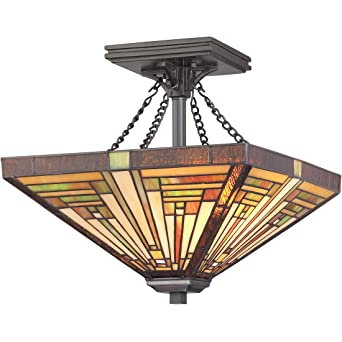 Quoizel TF885SVB Stephen Small Semi Flush Mount Tiffany Lamp 2 Light And  248 Pieces Of