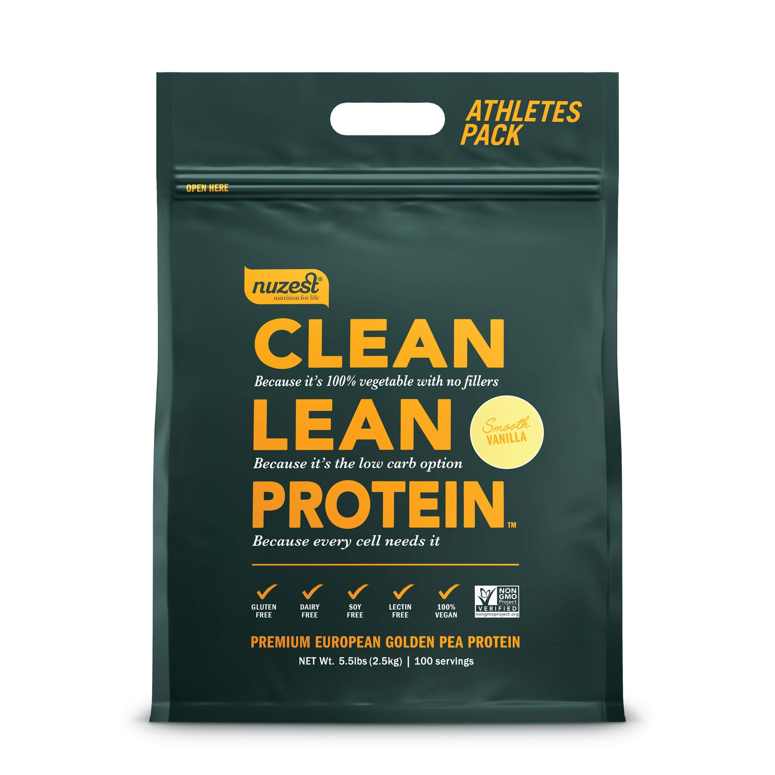 Nuzest Clean Lean Protein - Premium Vegan Protein Powder, Plant Protein Powder, European Golden Pea Protein, Dairy Free, Gluten Free, GMO Free, Naturally Sweetened, Smooth Vanilla, 100 Servings, 5.5lb by NuZest