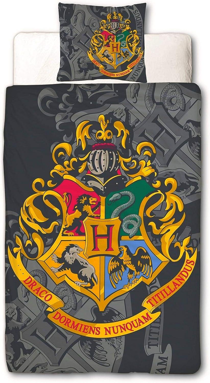 Character World 135 x 200 cm 80 x 80 cm 100/% Cotton Lawn Hogwarts Reversible Duvet Cover Set