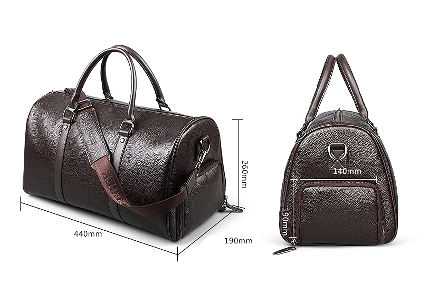 79e2d924b386 FEGER Leather Holdall Travel Bag Weekender Bag Overnight Travel Carry On  Duffel Tote Bag(Brown)  Amazon.co.uk  Luggage