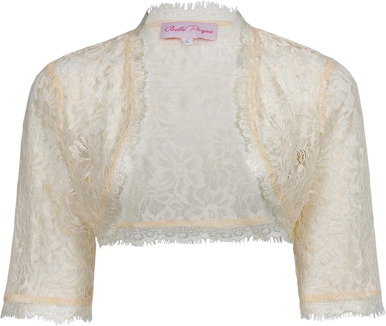 Belle Poque Women's 1950s Vintage Lace Shrug 3/4 Sleeve Cropped Bolero Jacket for Evening Dress