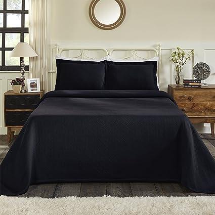 100 Cotton Basket Matelasse Twin Bedspread Navy Blue