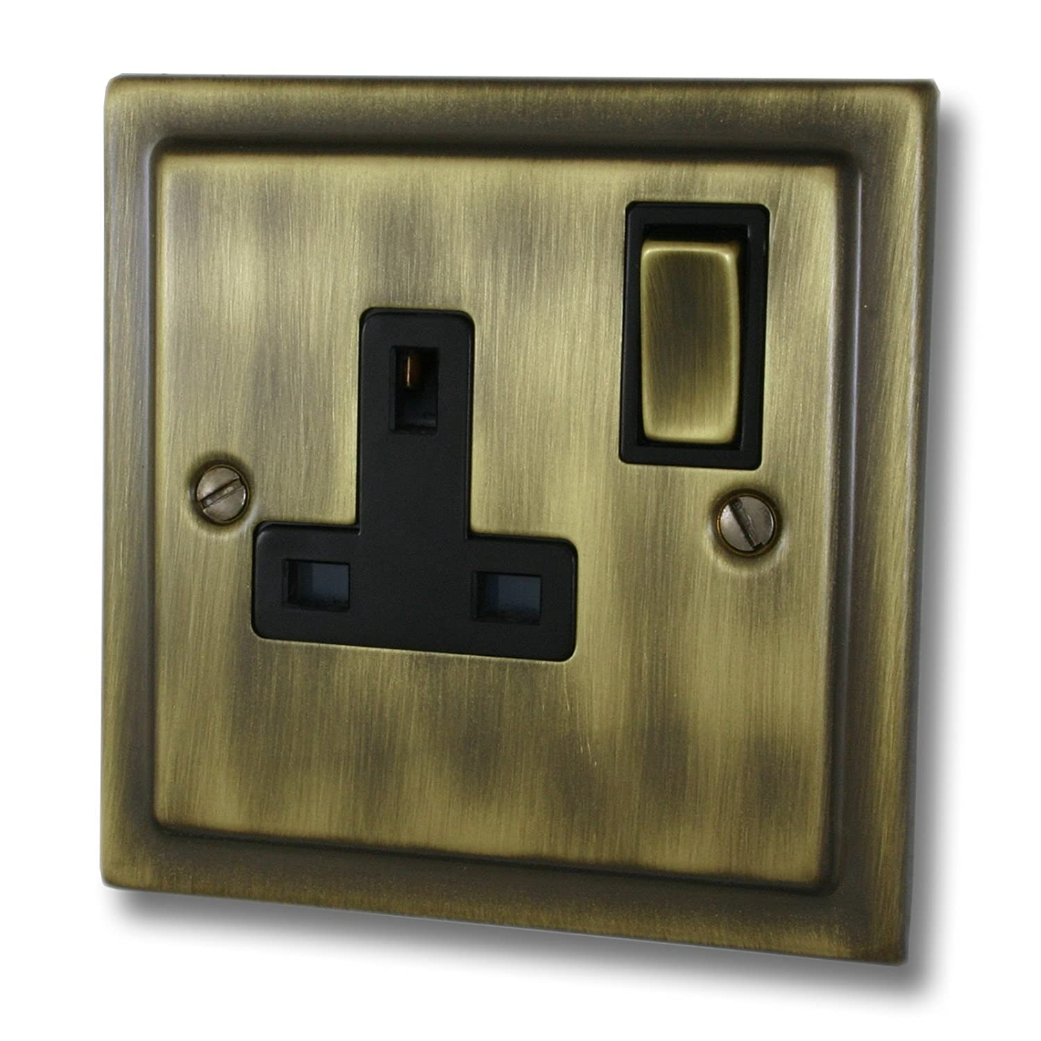G&H Brassware TAB309 Victorian Antique Brass 13A Switched 1 Gang Single Socket