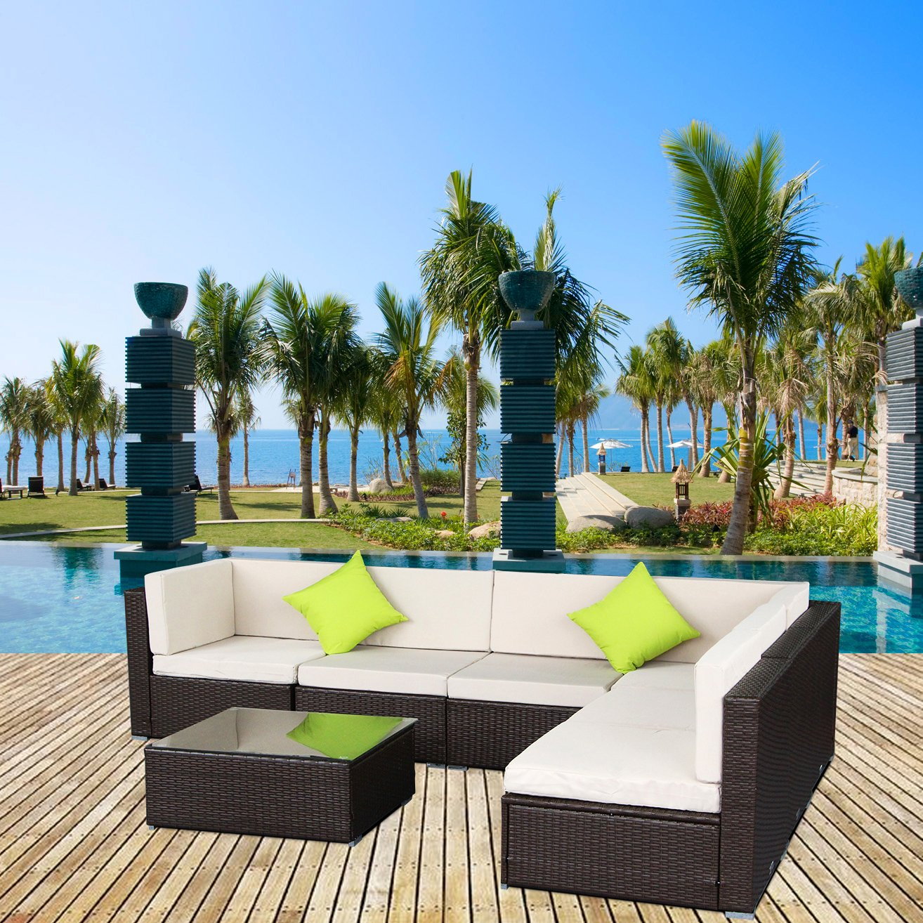 AECOJOY 7 Piece Outdoor Patio PE Rattan Wicker Sofa Cushioned Sectional Furniture Set (7 Pieces, Brown) by AECOJOY (Image #5)
