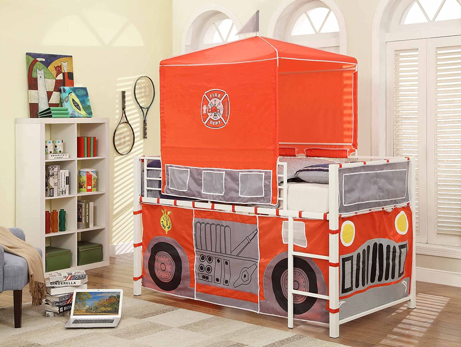 Amazon.com Homelegance B2028-1 Fire Truck with Tent Metal Loft Bed Twin White/Red Kitchen u0026 Dining & Amazon.com: Homelegance B2028-1 Fire Truck with Tent Metal Loft ...