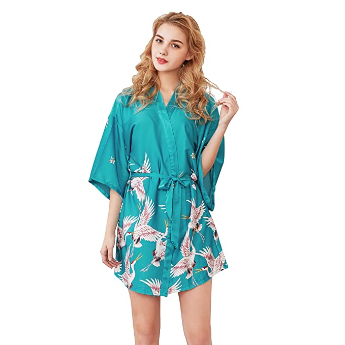 Rojeam Batas de Kimono de satén Cortas para Mujeres con Bata ...