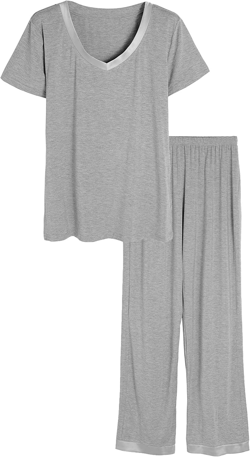 Latuza Women's V-Neck Sleepwear Short Sleeves Top with Pants Pajama Set