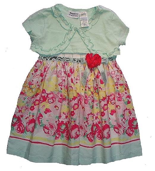b32d5c88ed78c Amazon.com: BLUEBERI BOULEVARD Girl's 3T Floral Pastel Sundress Mint ...