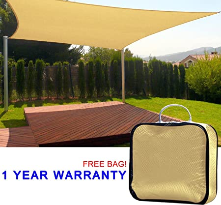 Quictent 10 x15 Rectangle Square Sand Sun Sail Shade Canopy Top Cover Outdoor Patio, 98 Uv-blocked W free Bag- Sand