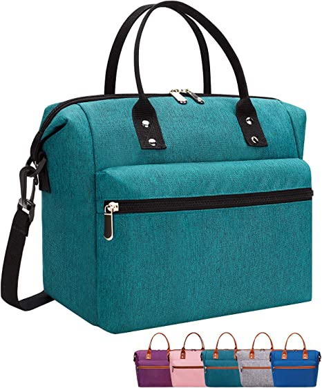 Green Insulated Lunch Bag Men School Work Gym Picnic Large Capacity Lunch Box Thermal Lunch Tote bags with with Detachable Shoulder Strap Lunch Containe