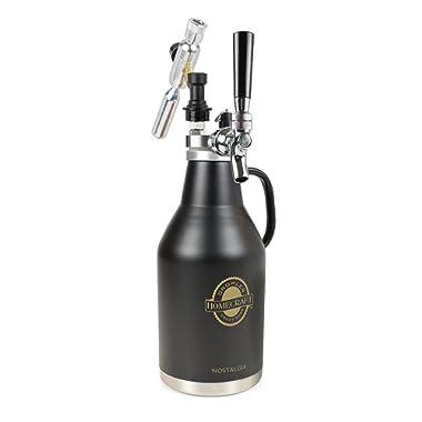Nostalgia CBG64 HomeCrraft Beer Growler, 64-Ounce, Black