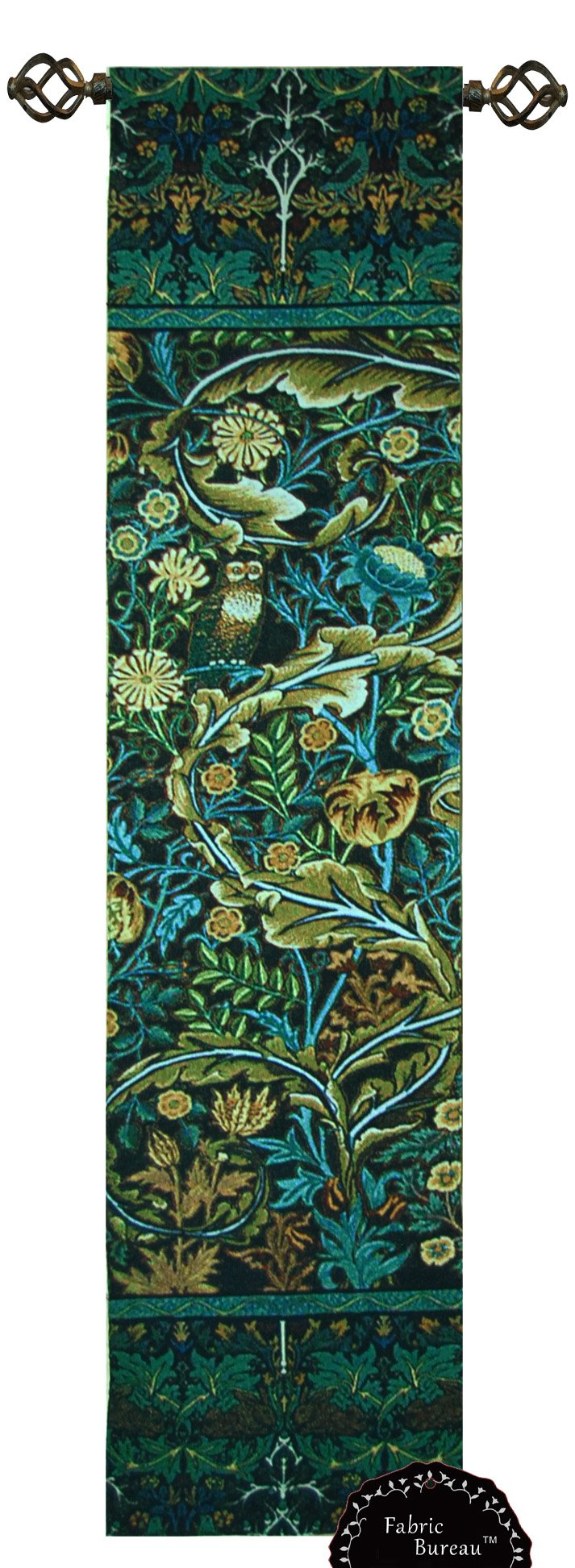 Decor Plus Beautiful William Morris Tree of Life Blue Green Wood Panel Jacquard Tapestry Wall Hanging (Yw011) (11''X48''(Series I))