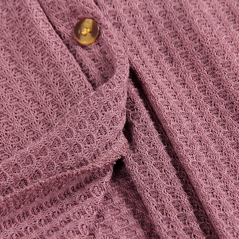 Mujer Tejer C/árdigan Cuello V Waffle Mangas Larga con Bot/ón Punto de Nudo Corbata Blusa Camisetas Tops