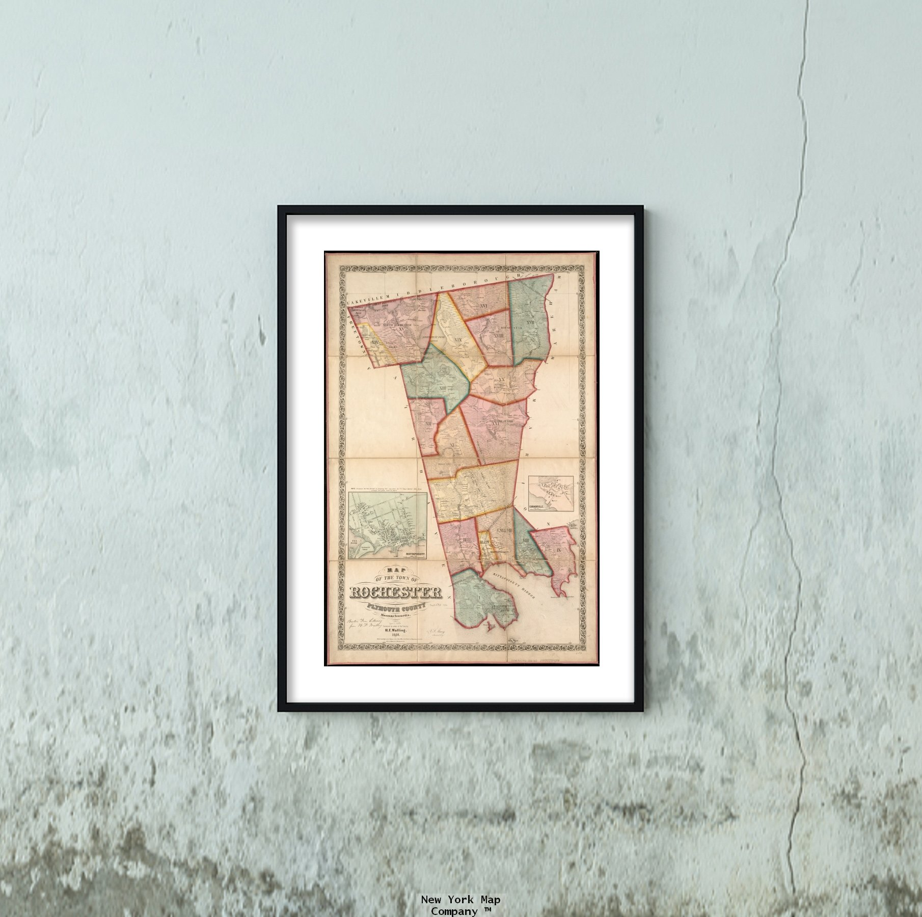 1856 Map|Plymouth|Mattapoisett of The Town of Rochester, Plymouth County, Massachusetts : Survey|Vintage Fine Art Reproduction|Ready to Frame by New York Map Company LLC