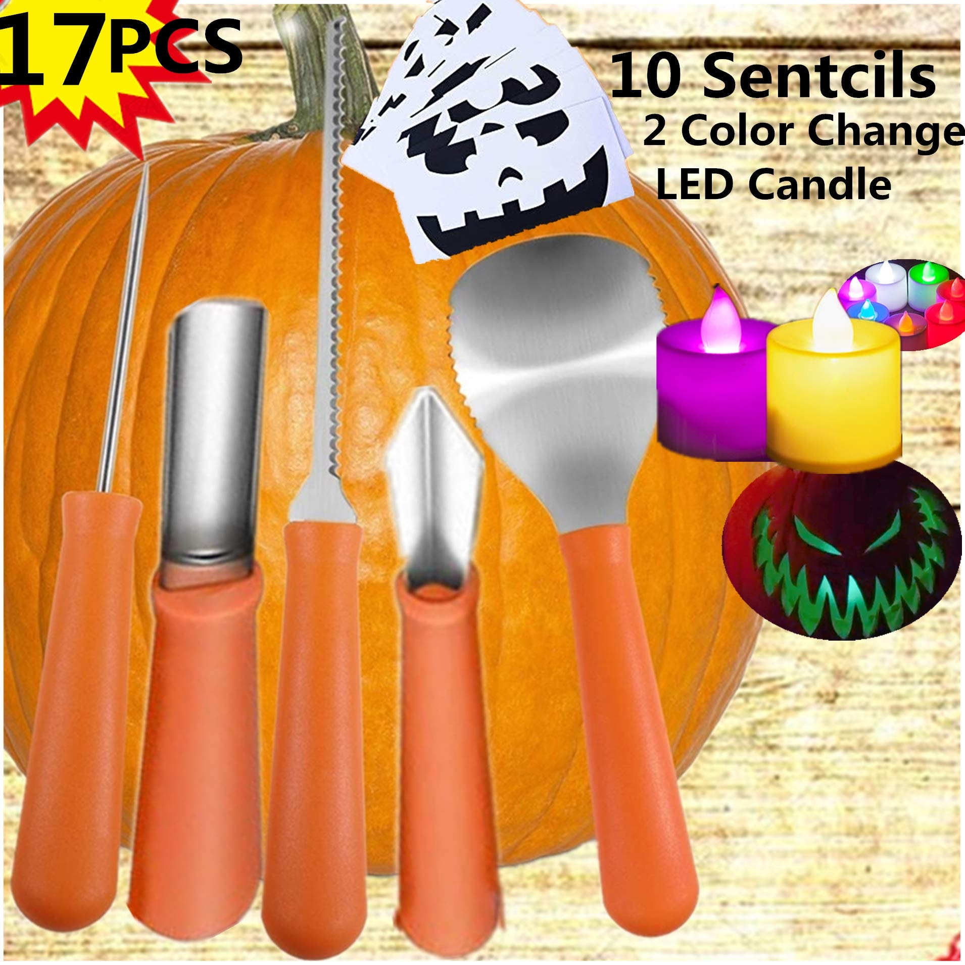 Professional Pumpkin Carving Kit- Heavy Duty Stainless Steel Tools Jack-O-Lantern Sculpting Set Halloween Party Supplies 2018 Outdoor & Yard Décor Free 2 Flickering Candles,10 Carving Stencils